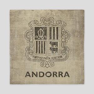 Vintage Andorra Coat Of Arms Queen Duvet