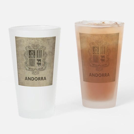 Vintage Andorra Coat Of Arms Drinking Glass