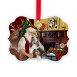 Santa / 2 Shelties (dl) Picture Ornament