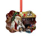 Santa / 2 Shelties (dl) Picture Ornament