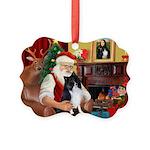Santa's Bi Black Sheltie Picture Ornament