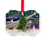Xmas Magic & Red Husky Picture Ornament