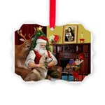 Santa's Red Husky Picture Ornament