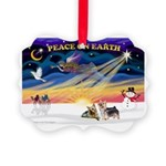 XmasSunrise/2 Silky Ter Picture Ornament