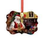 Santa's Silky Terrier Picture Ornament