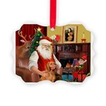Santa's Vizsla Picture Ornament