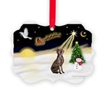 Night Flight/Weimaraner #2 Picture Ornament