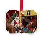 Santa's Whippet Picture Ornament