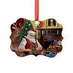 Santa's Yorkie (#11) Picture Ornament