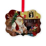 Santa's Yorkie (#13) Picture Ornament