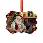 Santa's Yorkie (#13) Picture Ornament