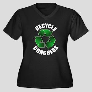 Recycle Congress Women's Plus Size V-Neck Dark T-S
