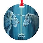 The Lion The Unicorn Round Ornament
