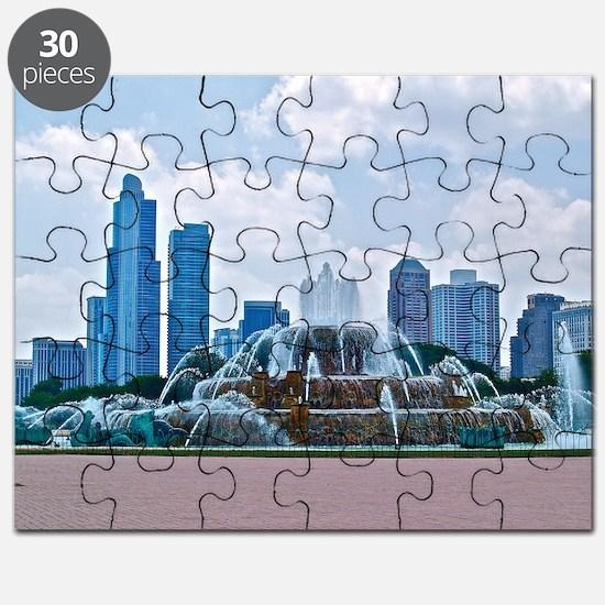 Fountain in Grant Park Chicago Puzzle