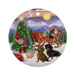 Treat for two Dachshunds Ornament (Round)