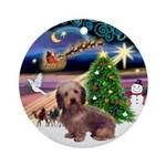 XmasMagic-Wire Haired Dachshund Ornament (Round)