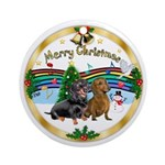 XmasMusic1W-Two Dachshunds Ornament (Round)