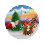 Treat for two Brown Dachshunds Ornament (Round)