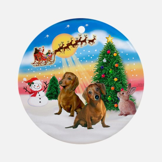 Take Off - Two Brown Dachshunds Ornament (Round)