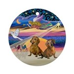 XmasAngel-Two Brown Dachshunds Ornament (Round)
