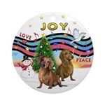 XmasMusic1-Two Brown Dachshunds Ornament (Round)