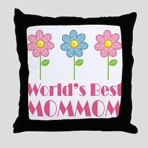 Best MomMom Flower Throw Pillow