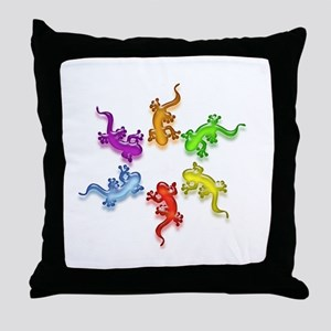 Gecko Colors Throw Pillow