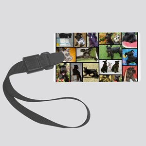 Black Schnauzer Collage Large Luggage Tag