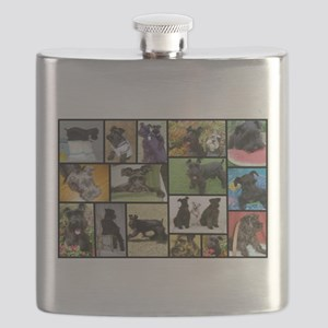 Black Schnauzer Collage Flask