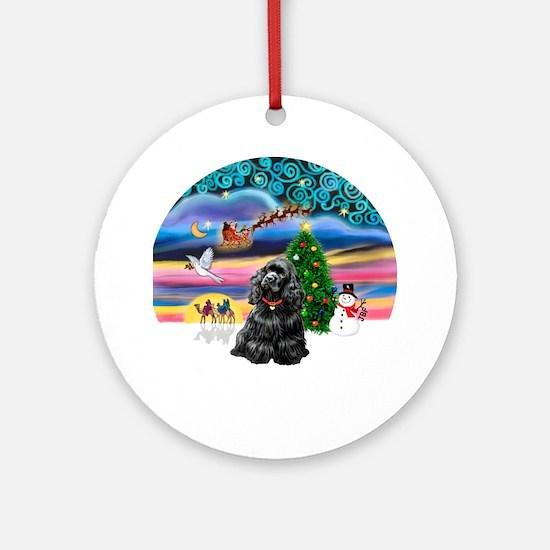 XmasMagic-Black Cocker Ornament (Round)
