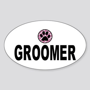 Groomer Pink Stripes Oval Sticker