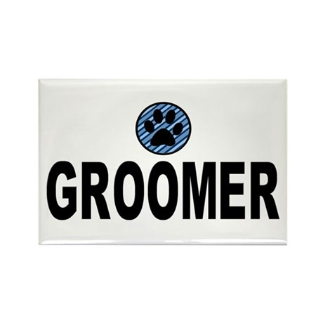 Groomer Blue Stripes Rectangle Magnet