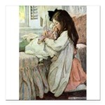 Little Girl With Her Doll Square Car Magnet 3