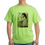 Little Girl With Her Doll Green T-Shirt