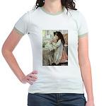 Little Girl With Her Doll Jr. Ringer T-Shirt