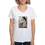 Little Girl With Her Doll Women's V-Neck T-Shirt