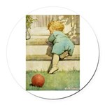 Toddler With A Ball Round Car Magnet