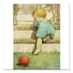 Toddler With A Ball Square Car Magnet 3