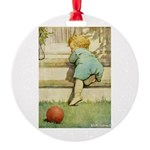 Toddler With A Ball Round Ornament