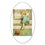 Toddler With A Ball Sticker (Oval)