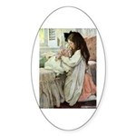 Little Girl With Her Doll Sticker (Oval 10 pk)