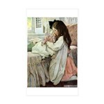 Little Girl With Her Doll Sticker (Rectangle 50 pk