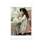 Little Girl With Her Doll 35x21 Wall Decal