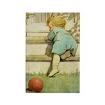 Toddler With A Ball Rectangle Magnet (100 pack)