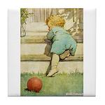 Toddler With A Ball Tile Coaster