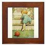 Toddler With A Ball Framed Tile