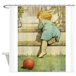Toddler With A Ball Shower Curtain