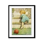 Toddler With A Ball Framed Panel Print