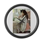 Little Girl With Her Doll Large Wall Clock