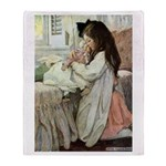 Little Girl With Her Doll Throw Blanket